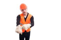 Fare del supervisore della costruzione ritorna a segno del lavoro Immagini Stock