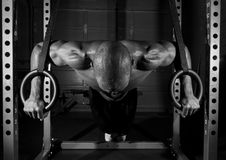 Fare dell'atleta spinge verso l'alto sugli anelli fotografia stock libera da diritti