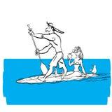 Fare delle coppie sta su remante sul bordo di pagaia sull'acqua alla spiaggia illustrazione vettoriale