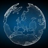 Fare galleggiare la rappresentazione bianca e blu della rete 3D del pianeta Terra Immagini Stock