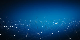 Fare galleggiare la rappresentazione bianca e blu della rete 3D del punto Fotografia Stock