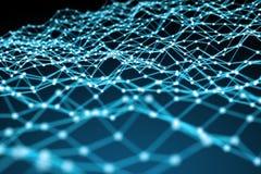 Fare galleggiare la rappresentazione bianca e blu della rete 3D del punto Fotografie Stock Libere da Diritti
