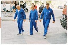 Fare un film circa i giochi olimpici nella camminata dello sportivo dell'uomo dell'albero di Mosca nel 1980 - Immagine Stock