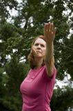 fare yoga della donna Fotografie Stock