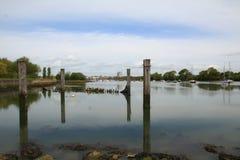 Fareham Quay z łodziami fotografia stock