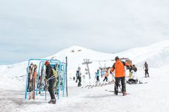 Farellones, Chile - August 2011 - Ski station on the top of Andes Mountains stock photography