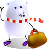Farewell. Mouse bring his bag and going to travel, cartoon, vector, illustration Stock Image