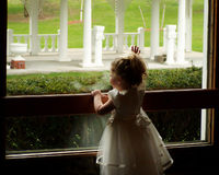 Farewell. A girl looking out the window at a wedding reception Royalty Free Stock Photos