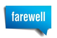 Farewell blue 3d speech bubble. Farewell blue 3d square isolated speech bubble Stock Photos