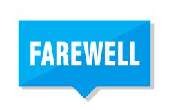 Farewell price tag. Farewell blue square price tag Stock Image