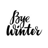 Farewell greeting card with phrase: Bye winter. Vector isolated illustration: brush calligraphy, hand lettering. Inspirational typography poster Stock Photo
