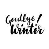 Farewell greeting card with phrase: Goodbye winter. Vector isolated illustration: brush calligraphy, hand lettering. Inspirational typography poster Stock Image