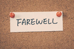 Farewell. Note on a bulletin board Stock Photo