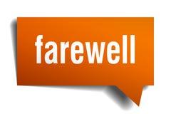Farewell orange 3d speech bubble. Farewell orange 3d square isolated speech bubble Royalty Free Stock Photos