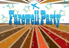 Farewell Party Banner_eps. Illustration of farewell party banner with airplane. Stars hope bring a rosy future; bottom with grunge style because anxious feeling Stock Image