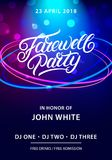 Farewell party hand written lettering. Invitation card, poster, banner template. Vector illustration Stock Image