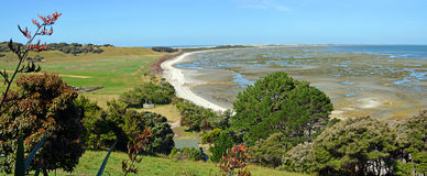 Farewell Spit Landscape Panorama, New Zealand Stock Image