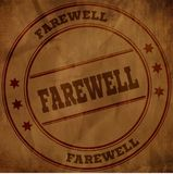 FAREWELL stamp on old brown crumpled paper. Illustration Stock Photo