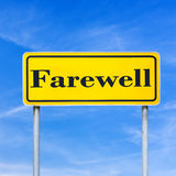 Farewell street sign. Yellow Farewell street sign over blue sky Stock Image