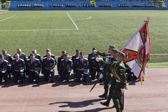 Farewell to the banner of the graduates of the Military Space Academy named after Alexander Fedorovich Mozhaisky Royalty Free Stock Photos
