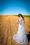 Farewell to the land. Bride is sending her last farewell to the land she lived up until now Stock Photos