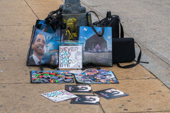 Farewell to President Obama. Washington, DC - January 16, 2017: A collection of memorabilia for sale during the Martin Luther King, Jr. Day Peace Walk and Parade stock images