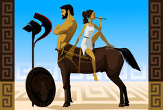 Farewell the weapon. The thoughtful centaur and the girl playing on a flute Royalty Free Stock Photography