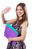 Farewell. Young student in colorful dress waving hand in farewell Royalty Free Stock Image