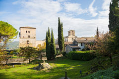 Farfa Abbey. The ancient village of Farfa with Abbey and tower.Italia royalty free stock image