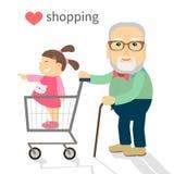 Farfadern och sondottern gick att shoppa Fotografering för Bildbyråer