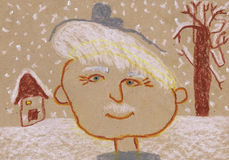 Farfaderns stående på vintergatan barn som tecknar s Fotografering för Bildbyråer