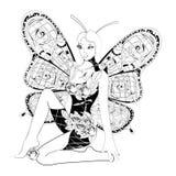 Farfalla astratta della ragazza di fantasia Immagini Stock