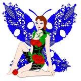 Farfalla astratta della ragazza di fantasia Immagini Stock Libere da Diritti