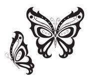 Farfalla astratta ornata della siluetta Immagini Stock Libere da Diritti