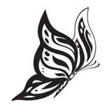 Farfalla astratta ornata della siluetta Immagini Stock
