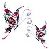 Farfalla colorata modellata Progettazione africana/indiano/totem/tatuaggio illustrazione di stock