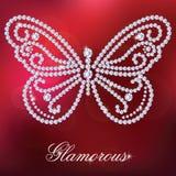 Farfalla con i diamanti brillanti Fotografie Stock Libere da Diritti