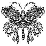 Farfalla con l'ornamento decorativo di turbine. Fotografie Stock Libere da Diritti