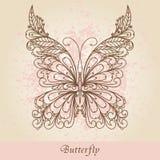 Farfalla decorata disegnata a mano Fotografie Stock