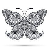 Farfalla decorativa in bianco e nero, disegnata a mano Fotografie Stock
