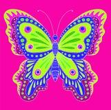 Farfalla decorativa variopinta su un fondo rosa luminoso royalty illustrazione gratis