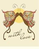 Farfalla dei biglietti di S. Valentino immagine stock