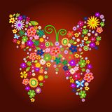 Farfalla del fiore della sorgente illustrazione di stock