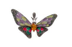 Farfalla del pendente con l'isolato dei diamanti su bianco Fotografia Stock