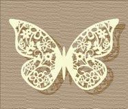 Farfalla del pizzo sul fondo di struttura Fotografia Stock Libera da Diritti