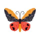 Farfalla del ricamo progettazione della decorazione per abbigliamento Isolato Immagini Stock Libere da Diritti