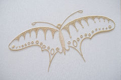 Farfalla del ricamo su cotone Fotografia Stock Libera da Diritti