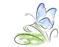 Farfalla dell'acquerello Immagini Stock