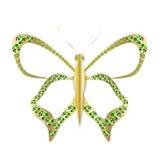 Farfalla dell'oro dei gioielli in gemme Immagine Stock Libera da Diritti