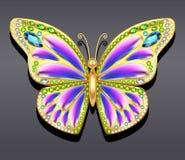 Farfalla dell'oro dei gioielli in gemme Bella decorazione Immagine Stock Libera da Diritti